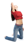 Young Woman Stand On A Knees Royalty Free Stock Photo