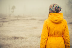 Young Woman standing alone outdoor Travel Lifestyle Stock Photo