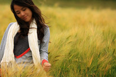 Young Woman Standing in Autumn. Young woman standing in gloden cornfield with a beautiful smile Royalty Free Stock Photo