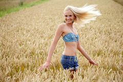 Young woman standing in a cornfield Royalty Free Stock Images