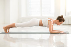 Young woman standing in Dolphin Plank pose, white color backgrou. Young attractive yogi woman practicing yoga, standing in Dolphin Plank exercise, phalankasana Stock Photography