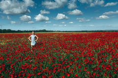 Young woman standing in the field of red poppies against the blue sky scenic landscape concept of outdoor recreation. Kuban, Russia Stock Photography