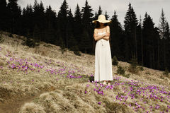 Young woman standing on a flowered hillside in the mountains Royalty Free Stock Photography