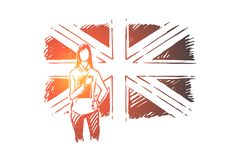 Young woman standing by Great Britain flag, student exchange, work abroad, foreign teacher from UK. English course, language training classes concept sketch stock illustration
