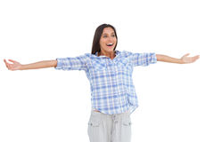 Young woman standing with her arms open Royalty Free Stock Photo