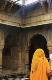 Young woman standing inside Karni Mata Temple, Deshnok, India Royalty Free Stock Image
