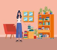 Young woman standing in the library room. Vector illustration design royalty free illustration