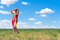 Young woman standing at meadow Stock Photography
