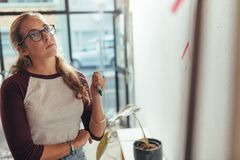 Woman thinking over new project plan Stock Images