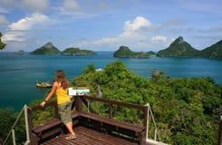 Young woman standing at overlook, Mae Koh island, Ang Thong Nati Stock Photos