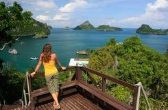Young woman standing at overlook, Mae Koh island, Ang Thong Nati Stock Image