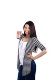 Young woman standing and pointing you Royalty Free Stock Image