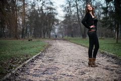 Young woman standing and posing at the lake. Young woman standing and posing Stock Photo