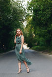Young Woman Standing on the Road stock image