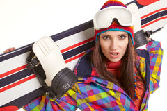 Young woman standing with snowboard isolated on white Stock Photos