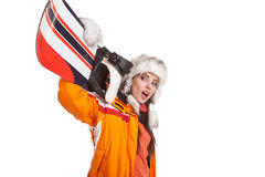 Young woman standing with snowboard isolated on white Royalty Free Stock Images
