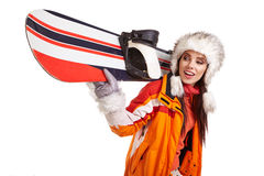 Young woman standing with snowboard isolated on white Royalty Free Stock Photography