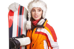 Young woman standing with snowboard isolated on white Stock Image