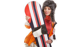 Young woman standing with snowboard isolated on white Stock Photo