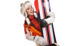 Young woman standing with snowboard isolated on white Stock Photography