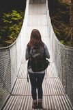 A young woman standing on a suspension bridge in an evergreen forest. stock photography