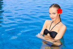 Young woman standing in swimming pool Royalty Free Stock Photo