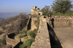 Young woman standing at Taragarh Fort, Bundi, India Royalty Free Stock Images