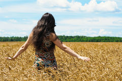 Young woman standing and touch a wheat in cereals field Royalty Free Stock Image