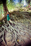 Young woman standing on the tree roots Royalty Free Stock Photography