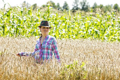 Young woman standing in a wheat field Royalty Free Stock Photography