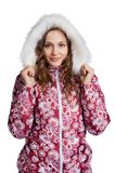 Young woman standing in winter clothes Stock Image