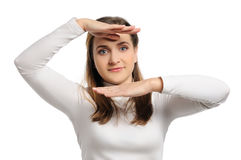 Young woman stands Stock Image