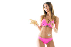 Young woman with starfish Royalty Free Stock Photography