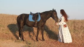 Young woman stay near horse on meadow. stock video
