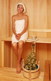 Young woman in a steam bath-room Stock Photos