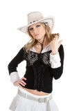 Young woman in stetson hat. Young sexy blond woman in stetson hat isolated on white background Stock Image