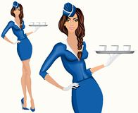 Young woman stewardess Royalty Free Stock Photos