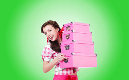 Young woman with storage boxes on the white Stock Photo