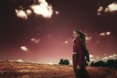 Young woman at strange landscape Royalty Free Stock Photography