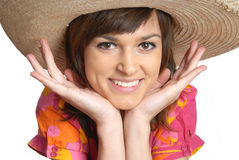 Young woman in a straw hat Stock Images
