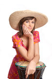 Young woman in a straw hat Royalty Free Stock Photography