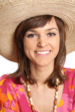 Young woman in a straw hat Stock Photography
