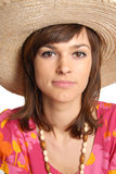 Young woman in a straw hat Royalty Free Stock Images