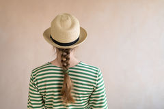 Young woman in a straw hat Royalty Free Stock Photo