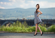 Young  woman at the street in city Stock Photography