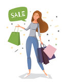 Young woman street style with bags for shopping. Vector illustration for sale, fashion market vector illustration