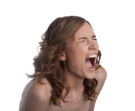 Young woman in stress cry loud isolated Stock Photo