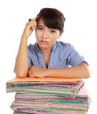 Young woman stressed at work Royalty Free Stock Photos