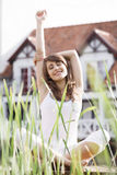 Young woman stretching exercising. Outdoor stock image