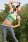 Young woman stretching outdoor Stock Photos